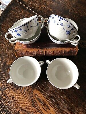 6 X Double Handled Soup Bowls / Coupes By Mason's Denmark Pattern • 10£