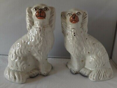 Vintage/Antique Staffordshire Flat Back Fireside/Mantle Piece Wally Dugs • 27.77£