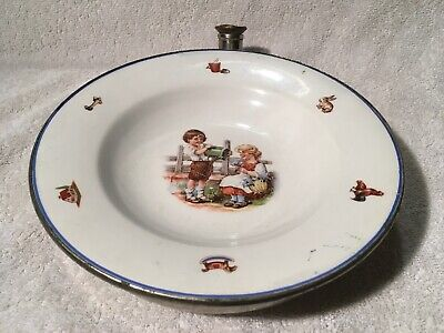 Antique Child's Warming Plate With Metal Base, Jack & Jill • 27.50£