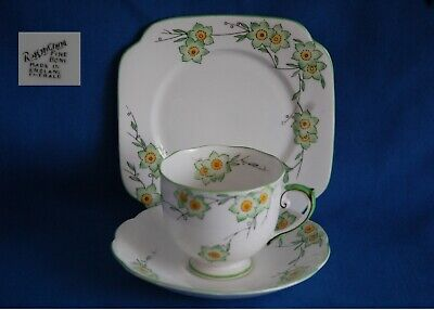 Vintage Roslyn Green/yellow Bone China Floral Trio Cup, Saucer And Plate • 3.99£