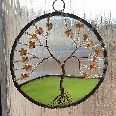 Stained Glass And Butterflies Tree Of Life Suncatcher Window Decoration • 18£