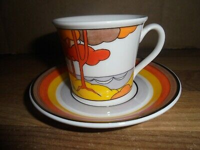 Wedgwood Clarice Cliff Cafe Noir Espresso Cup And Saucer  - Coral Firs • 14.95£