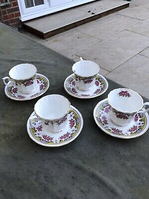 Sandringham Fine English Bone China Cups And Saucers Excellent Condition 4 Sets • 10£