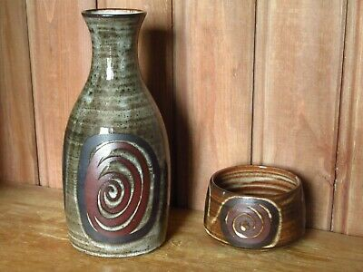 Briglin Studio Pottery Vase Or Water Jug And Bowl Brown Scroll 1970's Vintage   • 15£