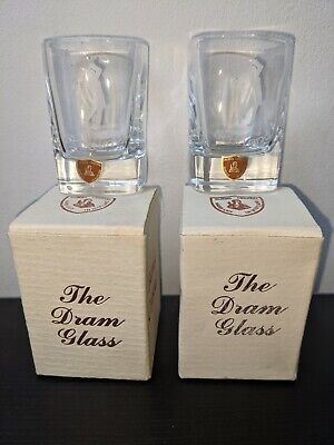 Burns Hand Cut Crystal Dram Shot Glass Set X2 Square Design Made In Scotland • 22£