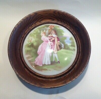 Antique Vintage Oak China Roundel Wall Plaque With Crinoline Lady Picture. • 15£