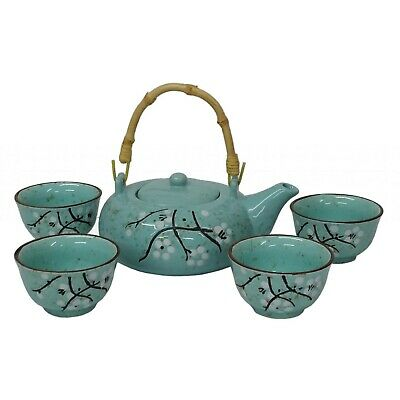 Chinese Tea Set - Speckled Turquoise With Black And White Blossom Design-boxed • 26.50£