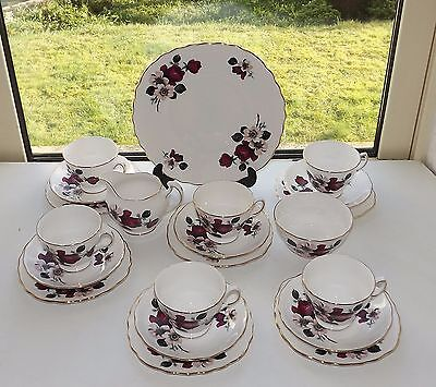 Queen Anne English China 21 Piece Teaset Cup Saucer Plate Milk Sugar Red  Roses • 39£