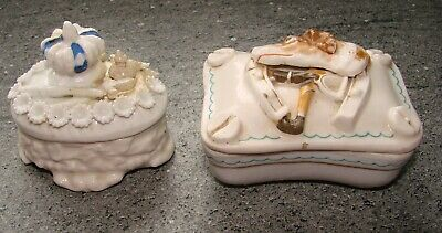 2  Small Ceramic Trinket Boxes,Dog And Horseshoe And Crown And Scepter • 8.50£