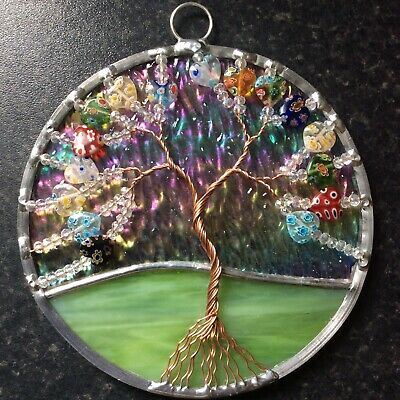 Stained Glass And Hearts Tree Of Life Suncatcher Window Decoration • 20£