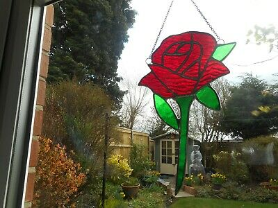 Stained Glass Red Rose Flower Suncatcher Or Wall Mount.  • 22£