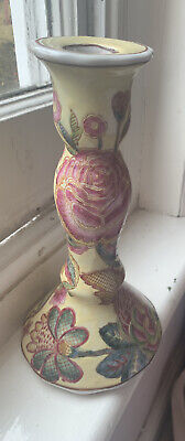 Pretty Floral Pale Yellow/ Pink Roses Chinese Style Ceramic Candlestick • 19.99£
