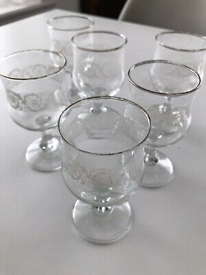 Set Of 6 Vintage Small Wine Glasses. Great For Rosé, Whiskey Sour. Pretty Floral • 10£