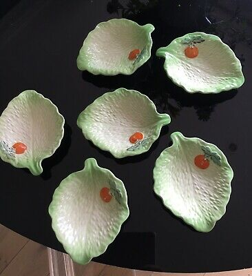6 X Beswick Vintage Gorgeous Little Leaf Dishes With Tomato Motif • 25£