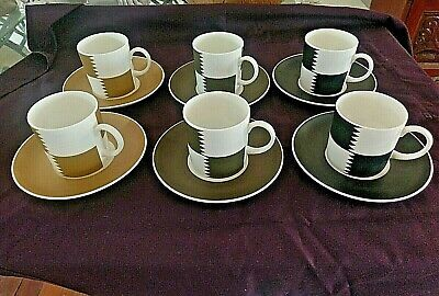 X6 SET SUSIE COOPER WEDGWOOD COFFEE CANS & SAUCERS -HERALDRY- EXCELLENT COND. • 45£