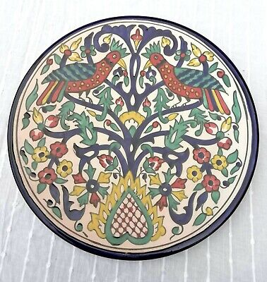 Hand Painted 27cm Decorative Clay Hanging Plate North African? Bird Design  • 15£