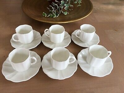 Vintage 6 COFFEE CUPS White Porcelain With Rope Design Handle- VGC • 14.99£