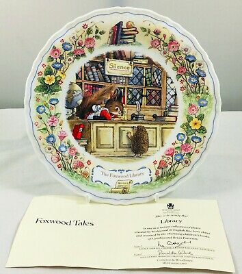 Wedgwood Foxwood Tales - Foxwood Library Plate With COA, 21.5cm 1990 • 17.49£