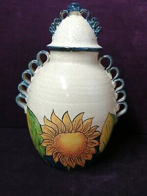 Large Casal Handmade Sunflower Decorated Lidded Pot Possibly Mexican • 45£