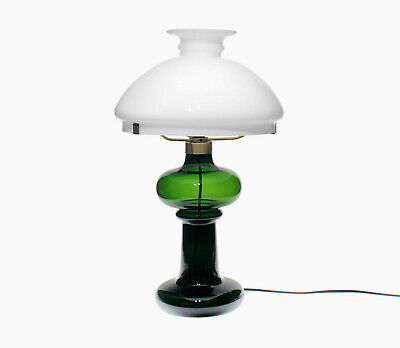 Holmegaard - Large 1970s 'Granny' Green & Opal Glass Danish Table Lamp W/ Label • 120£