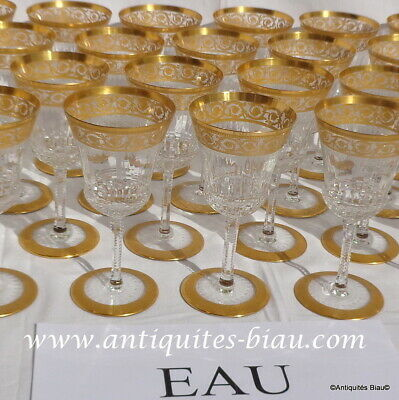 Water Glass 7inch In Crystal Saint - Louis - Thistle Gold In Perfect Condition • 168.15£