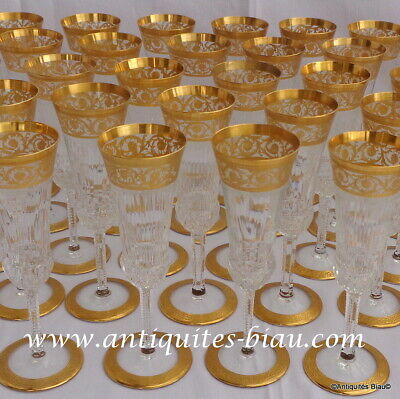 Champagne Glass FLUTE In Crystal Saint Louis Thistle Gold In Perfect Condition • 141.99£