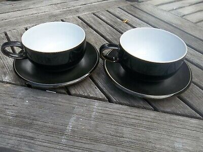 Two Denby Black Breakfast Cup And Saucers • 4£