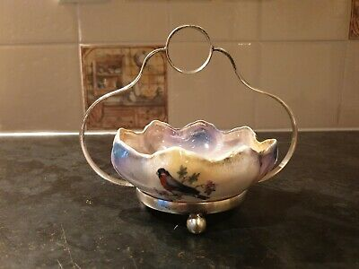 Victorian Antique Porcelain Sugar  Bowl Silver Plated Footed Stand Bird Design  • 19.99£