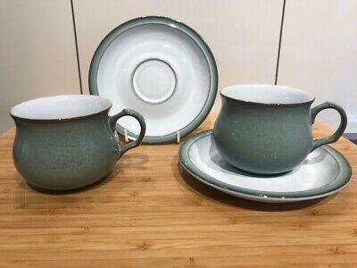 Denby Regency Green:  Pair (2) Flat Cups & Saucers - Excellent Condition • 9.99£