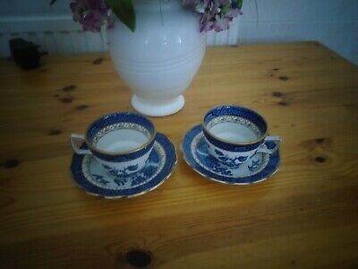 Real Old Willow 2 X Gold Rimmed Tea Cup And Saucer. • 9.95£