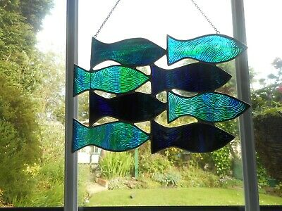 Stained Glass Shoal Of Fish Suncatcher Or Wall Mount.  • 35£
