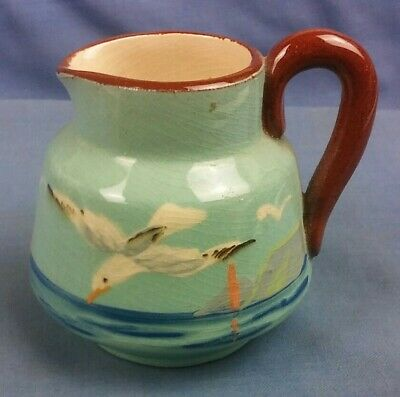 Small Souvenir Hand Painted Blue Jug With Seagull Portland Bill Torquay Ware? (I • 9.99£