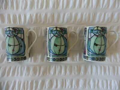 Dunoon Stoneware Mugs X 3. Mackintosh Adapted By Joanne Triner • 12£