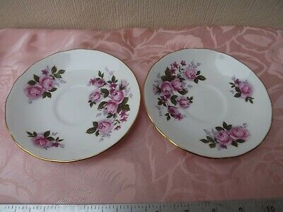 2 Queen Anne Pink Rose Saucers - Porcelain/china - Made In England • 6.50£