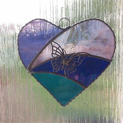 Hand Made Stained Glass Butterfly Heart • 12£
