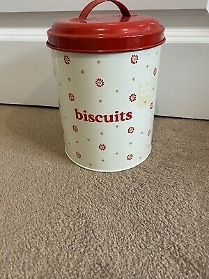 Laura Ashley Floral Cream & Red Biscuits - Tall Airtight Tin • 4£