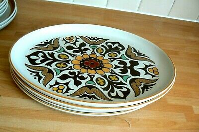 4 Denby Langley CANTERBURY Large Oval Steak Plates  / Platters • 12.99£
