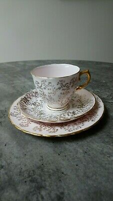 Tuscan Bone China Tea Trio Cup ,Saucer & Plate, Pale Pink And Gold • 2.50£