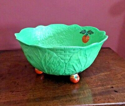 Quirky Vintage Green Majolica Lettuce Leaf China Salad Bowl With Red Tomato Feet • 4.99£