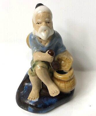 Vintage Chinese Shiwan Pottery Figurine Mudman Old Man-marked 67-68 Small • 6.99£