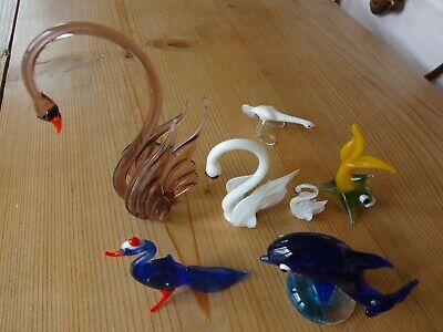 Lot Of 7 Blown Glass Miniature Birds And Fish  • 3.50£