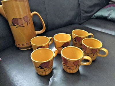 Palissy Royal Worcester Taurus Coffee Set 6 X Cups & Pot • 16.99£