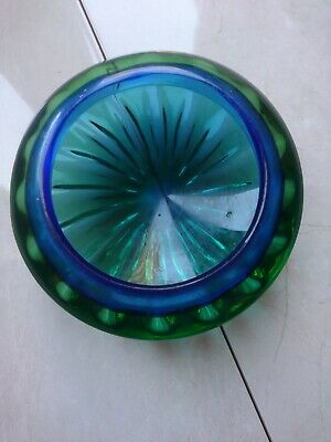 Vintage Art Glass Bowl Green And Blue  • 2.30£