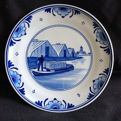 Genuine Hand Painted Delft 7  Wall Plate (Barge Scene) Unused • 8£