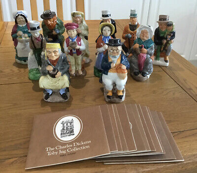 Set Of 12 Franklin Mint / Wood & Sons Dickens Character / Toby Jugs Exc/con • 54.95£