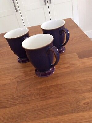 Denby Storm Footed Mugs X3 Purple Excellent Condition • 10.50£