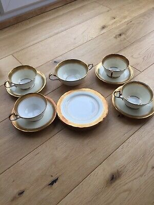 Aynsley Bone China Teacups & Saucers & Small Plates X 4. Plus (soup?) Dish. • 8.10£