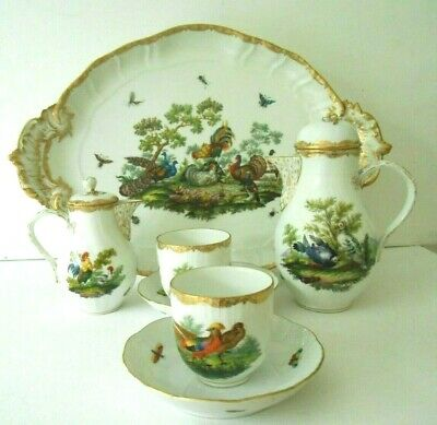 KPM & Herend Rothschild 7 Piece Coffee Set For 2,Peacocks Pheasants Insects Etc  • 600£