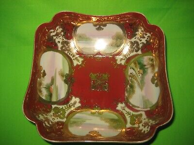 NORITAKE NIPPON  GILDED GOLD & RED HAND PAINTED  BOWL  C1920's • 23£