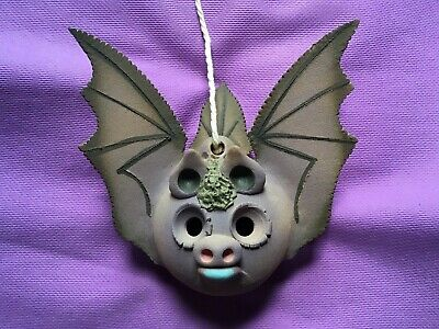 Unusual Handcrafted POTTERY HANGING BAT ORNAMENT - Gothic Rustic • 17.99£